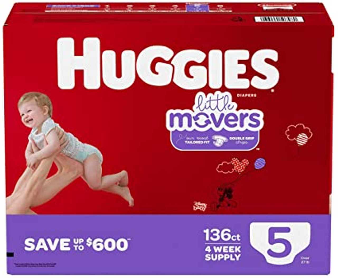 HUGGIES LITTLE MOVERS DIAPERS SIZE 5 136 CT