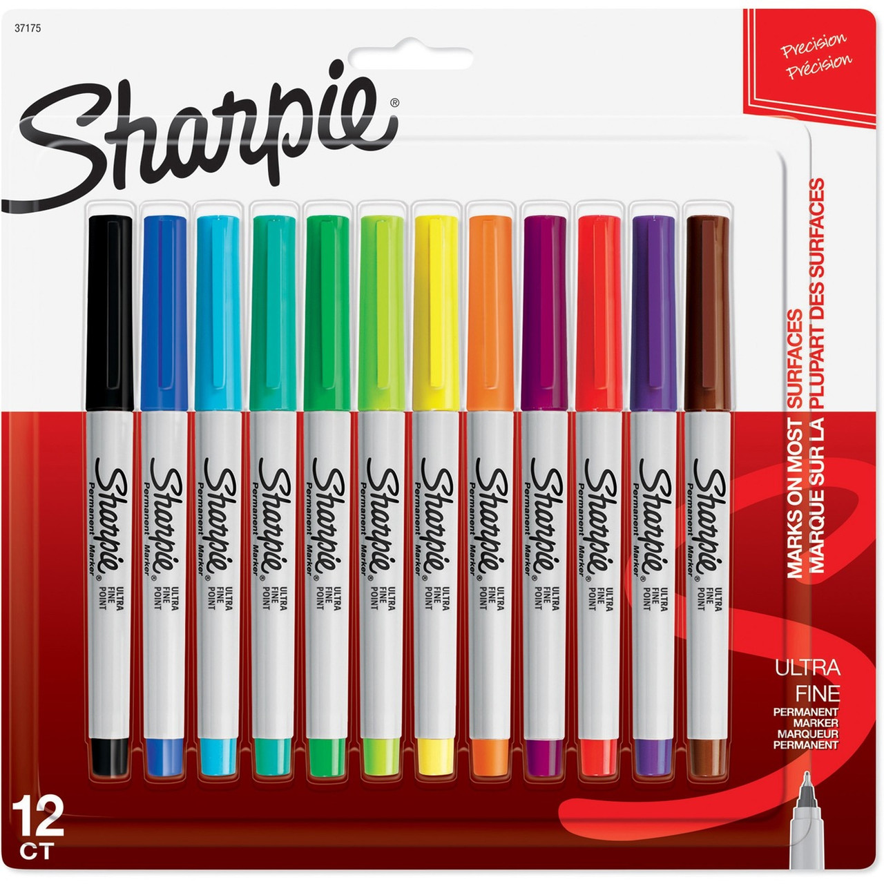 Sharpie Permanent Markers, Ultra Fine Point, Assorted Colors, 12 Count