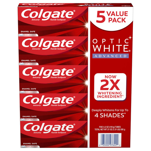 Colgate Optic White Advanced Teeth Whitening Toothpaste, Sparkling White (4.2 oz., 5 pk.) - *In Store