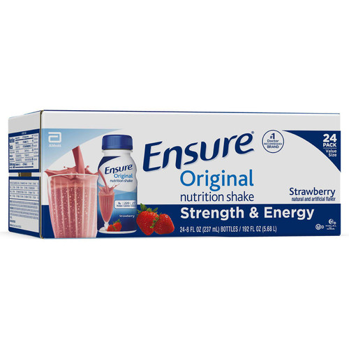 Ensure Original Nutrition Strawberry Meal Replacement Shakes with 9g of Protein (8 fl. oz., 24 ct.) - *In Store