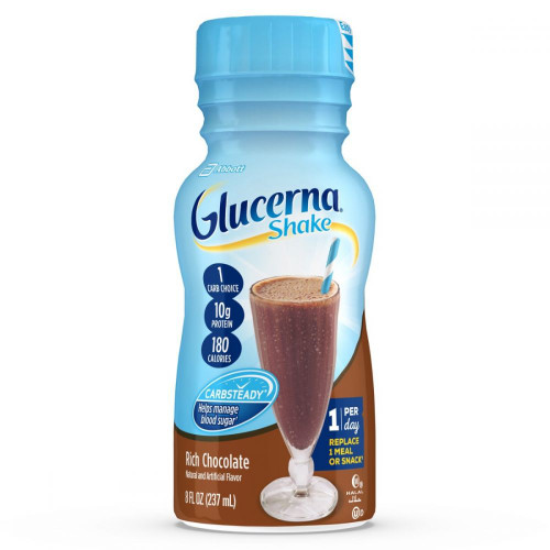 Glucerna Diabetes Nutritional Shake with 12g Protein, To Help Manage Blood Sugar, Rich Chocolate (8 fl. oz., 24 ct.) - *In Store
