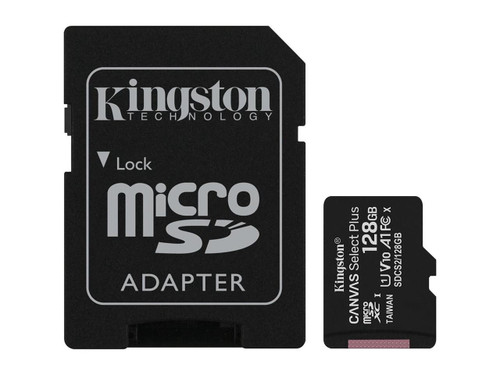 Kingston Canvas Select Plus - Flash memory card (microSDXC to SD adapter included) - 128 GB