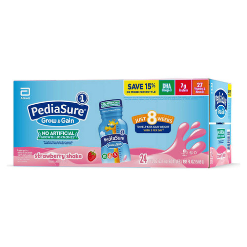 PediaSure Grow and Gain Nutrition Shake for Kids, Strawberry (8 fl. oz., 24 pk.) - *In Store