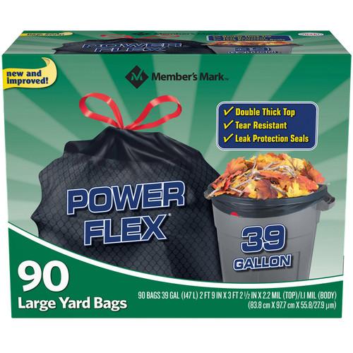 Member's Mark 39 Gallon Power-Guard Drawstring Yard Trash Bags (90 ct.) - *In Store