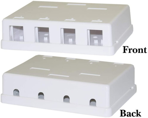 4 PORT BLANK SURFACE BOX WHITE