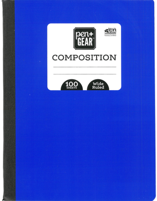 "Pen + Gear Composition Book, College Ruled, 100 Pages, 7.5"" x 9.75"", Color Choice Will Vary"