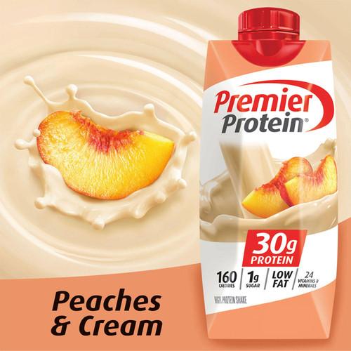 Premier Protein High Protein Shake, Peaches & Cream (11 fl. oz., 12 pk.) - *In Store