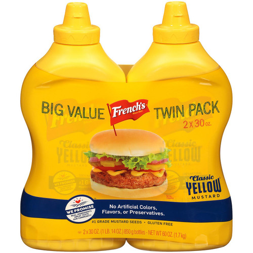 French's 100% Natural Classic Yellow Mustard (30 oz., 2 pk.) - *In Store