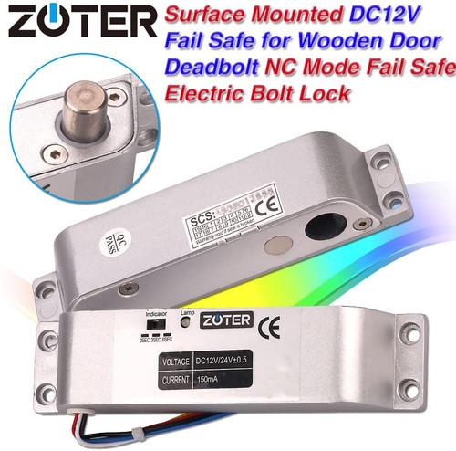 ZOTER Electric Bolt Door Lock- Deadbolt Low Temperature Surface Mounted DC 12V Fail Safe NC Mode