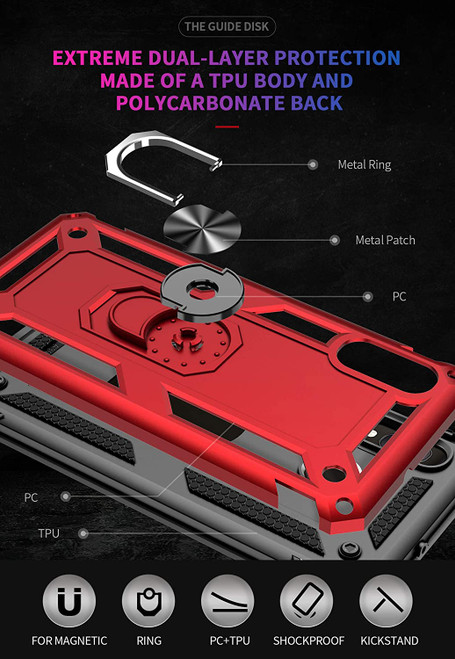 Samsung Galaxy A10e Case Cover,Rebex Tough Heavy Protective 360 Metal Rotating Ring Kickstand Holder Grip Built-in Magnetic Metal Plate Armor Heavy Duty Shockproof (Black)