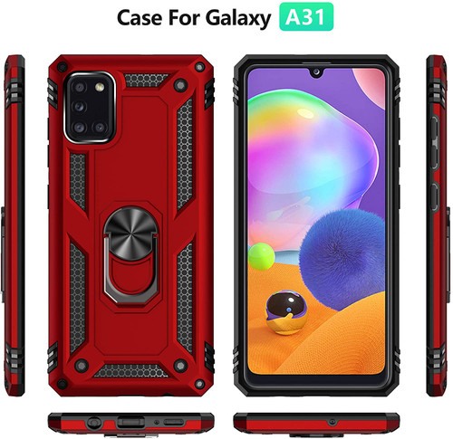 Samsung Galaxy A31 Case Cover, with Tempered Glass Screen Protector, Tough Heavy Protective Ring Kickstand Holder Grip Built-in Magnetic Metal Plate Heavy Duty Shockproof (Red)