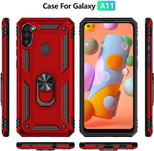 Samsung Galaxy A11 Case Cover,with Tempered Glass Screen Protector [2Pack],Rebex Tough Heavy Protective Ring Kickstand Holder Grip Built-in Magnetic Metal Plate Heavy Duty Shockproof (Silver)