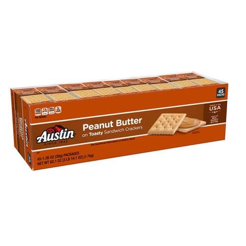 Austin Toasty Crackers with Peanut Butter (1.38 oz., 45 ct.) - *Special Order