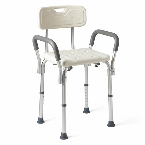 Medline Bath Bench with Back and Padded Arms, White - *Special Order