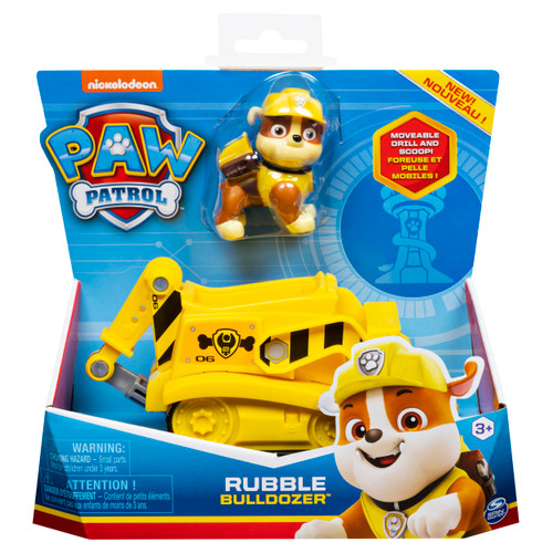 PAW Patrol, Rubble?s Bulldozer Vehicle with Collectible Figure, for Kids Aged 3 and Up