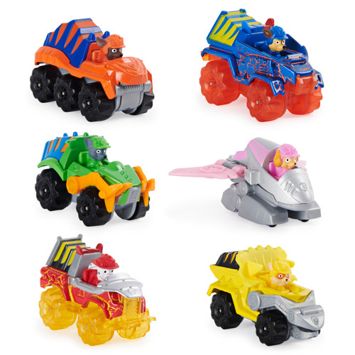 PAW Patrol, True Metal Dino Rescue Gift Pack of 6 Collectible Die-Cast Vehicles, 1:55 Scale