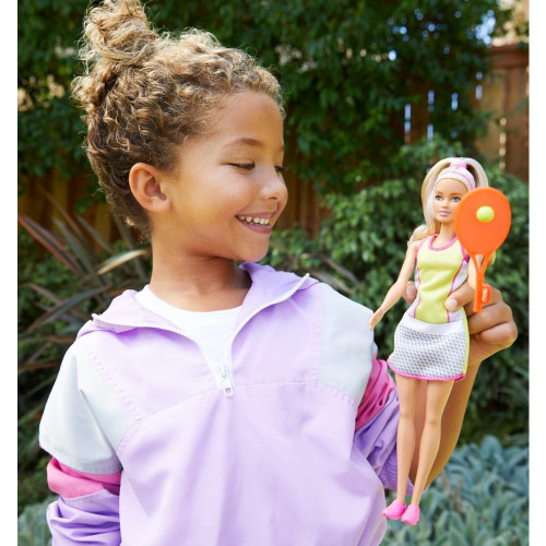 Barbie Blonde Tennis Player Doll With Tennis Outfit, Racket And Ball