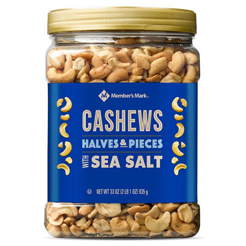 Member's Mark Cashew Halves and Pieces with Sea Salt (33oz) - *In Store