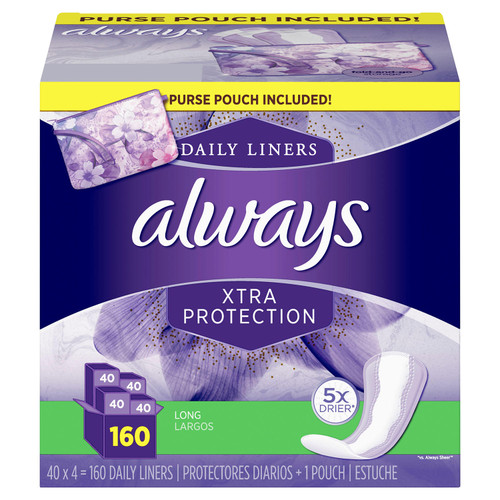 Always Xtra Protection Daily Liners, Long - with Purse Pouch (160 ct.) - *In Store