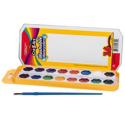 Craz-Z-Art 16-Color Washable Watercolors with Brush