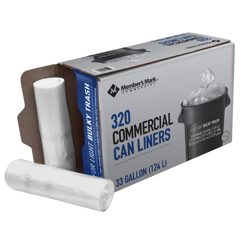 Member's Mark 33 Gallon Commercial Trash Bags (16 rolls of 20 ct., total 320 ct.) - *In Store