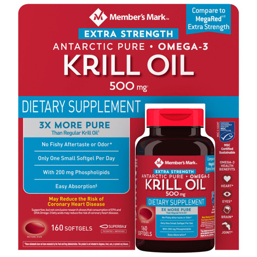 Member's Mark Extra-Strength Antarctic Pure Omega-3 Krill Oil, 500 mg (160 ct.) - *In Store
