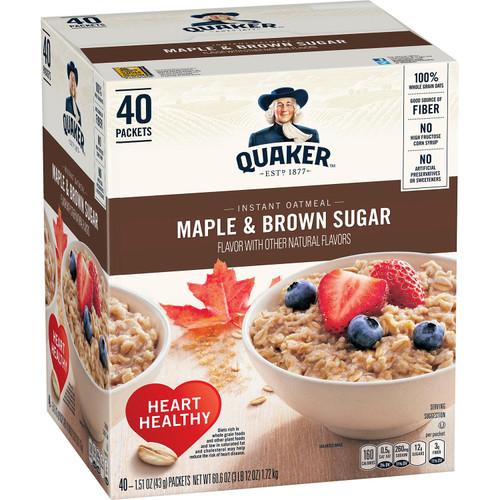 Quaker Instant Oatmeal, Maple Brown Sugar (40 pk.) - *In Store