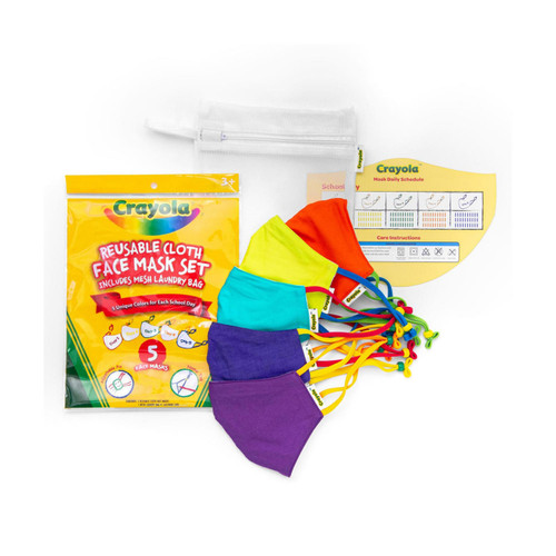 Crayola Kids Reusable Cloth Face Mask Set, Cool Colors (5 pk.) - *Special Order