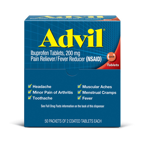 Advil Pain Reliever / Fever Reducer Coated Tablet, Individually Sealed, 200mg Ibuprofen (50 Packets of 2 Tablets) - *Special Order