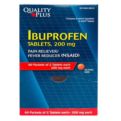 Quality Plus Ibuprofen Dispenser, 60 packets of 2 tablets each - *Special Order
