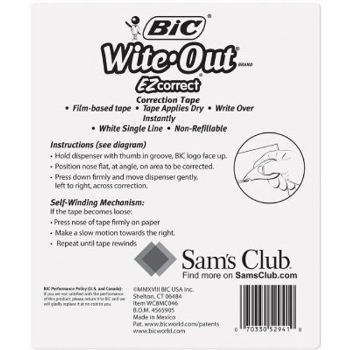 BIC Wite-Out Brand EZ Correct Correction Tape, White, 6 Count  - *Ships from Miami*