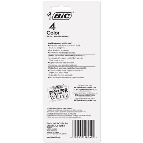BIC® 4-Color Retractable Ballpoint Pen, 1mm Medium (3pk)