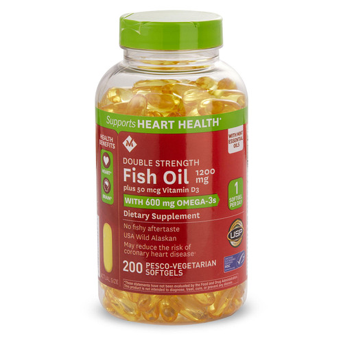 Member's Mark 1200mg Double Strength Fish Oil with 50 mcg Vitamin D3 (200 ct.) - *Special Order