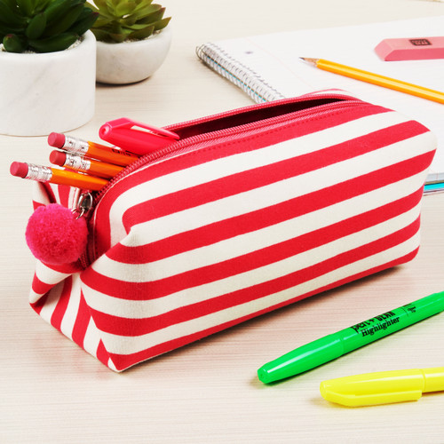 Pen + Gear Pencil Pouch, Red & White Stripes  - *Ships from Miami*