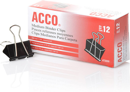 ACCO Medium Binder Clips, Black, Dozen (A7072050B)  - *Ships from Miami*
