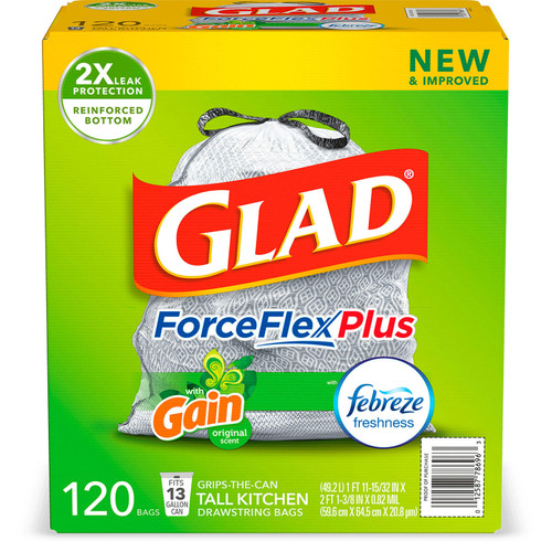 Glad Tall Kitchen Drawstring Trash Bags, ForceFlexPlus 13 Gallon White Trash Bag, Gain Original with Febreze Freshness (120 ct.) - *Special Order