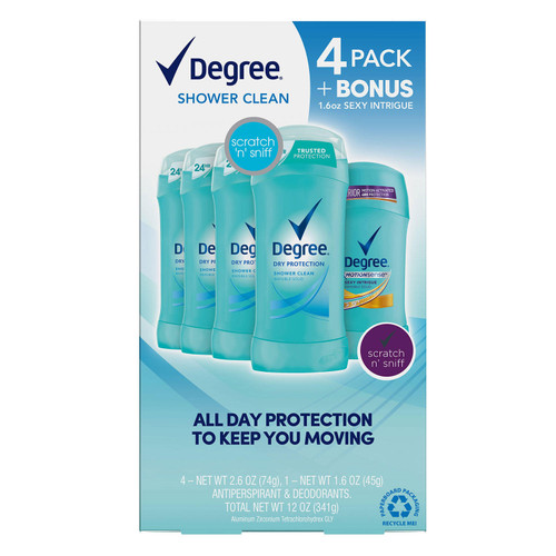 Degree Dry Protection Deodorant, Shower Clean (2.6 oz., 4 pk. + 1.6 oz. Sexy Intrigue) - *Special Order