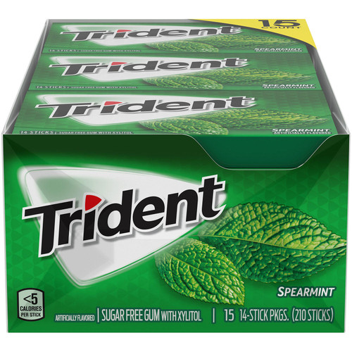 Trident Spearmint Sugar Free Gum, 15 Packs of 14 Pieces (210 Total Pieces) - *Special Order