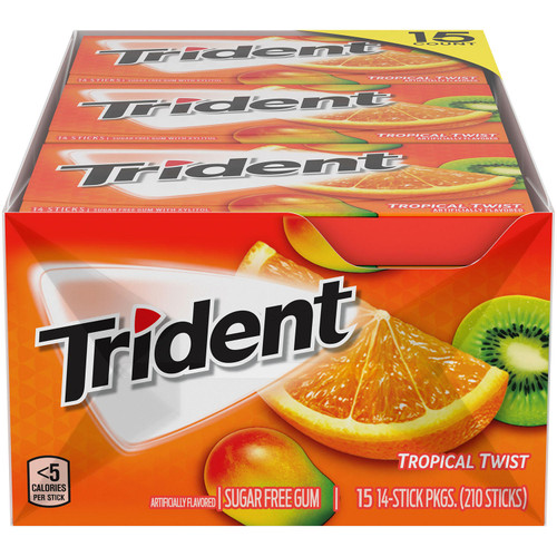 Trident Tropical Twist Sugar Free Gum (14 pieces, 15 pk.) - *Special Order