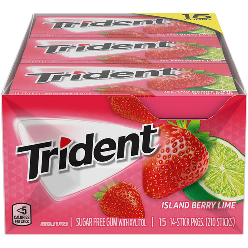 Trident Island Berry Lime Sugar Free Gum (14 pieces, 15 pk.) - *Special Order