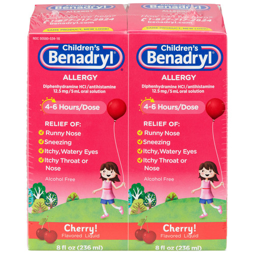 Children's Benadryl Antihistamine Allergy Liquid, Cherry (8 fl. oz., 2 pk.) - *Special Order