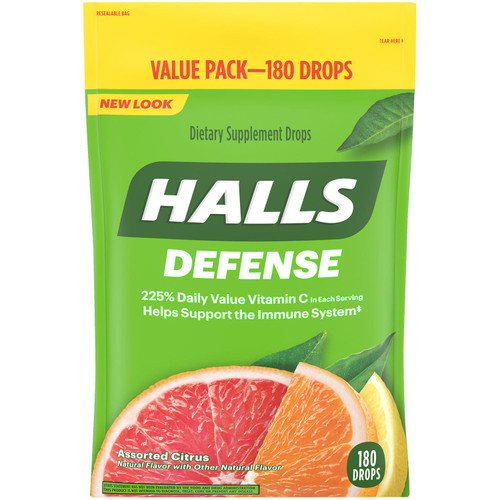 Halls Defense Assorted Citrus Vitamin C Drops (180 ct.) - *Special Order