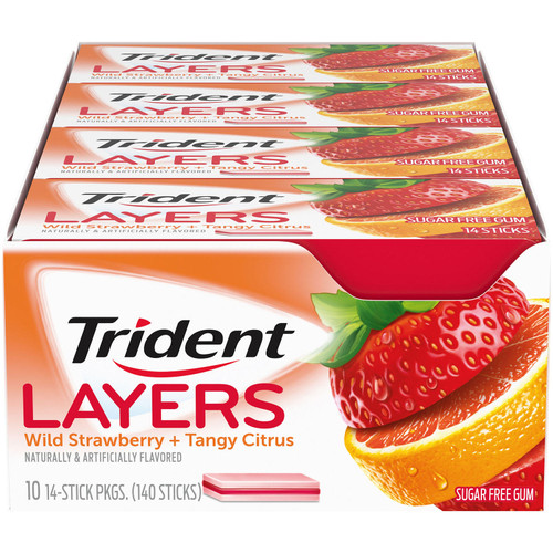 Trident Layers Strawberry & Citrus Sugar Free Gum (14 per pk., 10 pk.) - *Special Order