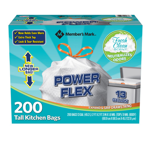 Member's Mark Power Flex Tall Kitchen Drawstring Trash Bags (13 Gallon, 2 Rolls of 100 ct., 200 count total) - *Special Order