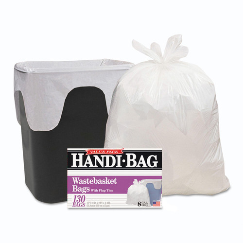 Handi-Bag Super Value Pack, 8gal, .55mil, 21 1/2 x 24, White - 130/Box - Trash Bags - *Special Order