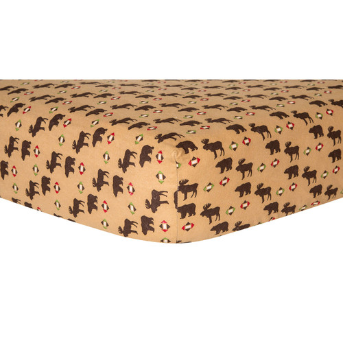 Trend Lab Flannel Fitted Crib Sheet, Northwoods - *Special Order