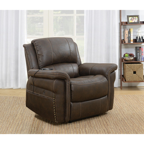Knowles Fabric Heat and Massage Power Recliner, Brown - *Special Order