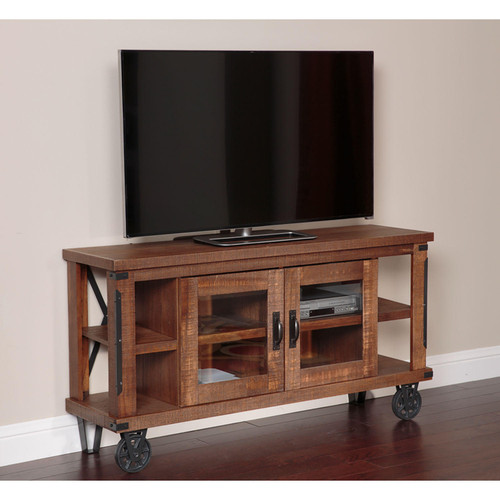 American Furniture Classics Industrial Collection 61 inch wide TV Console with glass doors - *Special Order