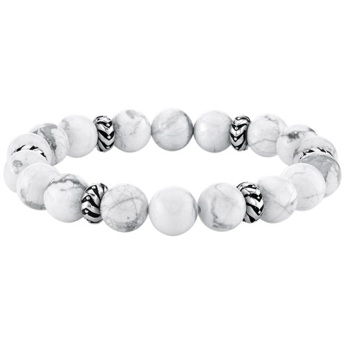 Spartan Sterling Silver and White Howlite Gents Bead Bracelet - *Special Order
