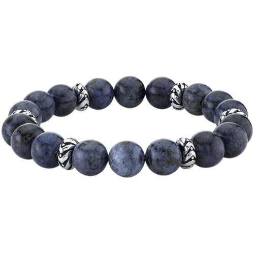 Spartan Sterling Silver and Blue Dumortierite Gents Bead Bracelet - *Special Order